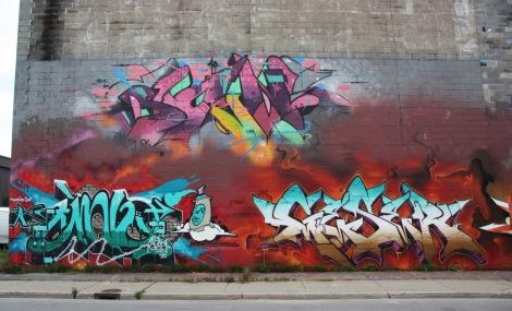 Sen2 (top), AG Crew (bottom left) and Geser (bottom right) on Cabot graffiti wall