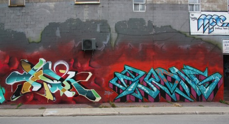 Sewk (left) and Brong (right) on Cabot graffiti wall