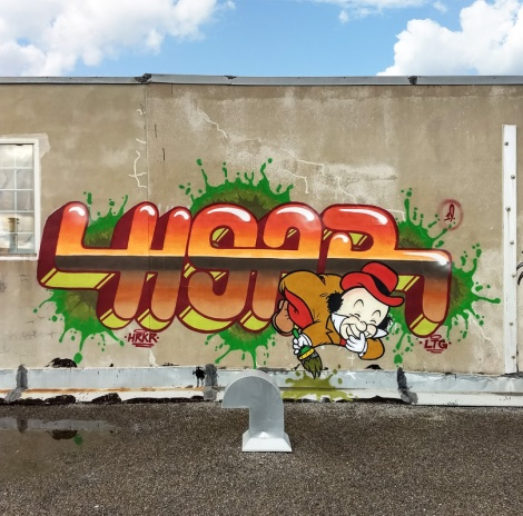 rooftop piece by Hoar found in industrial St-Leonard