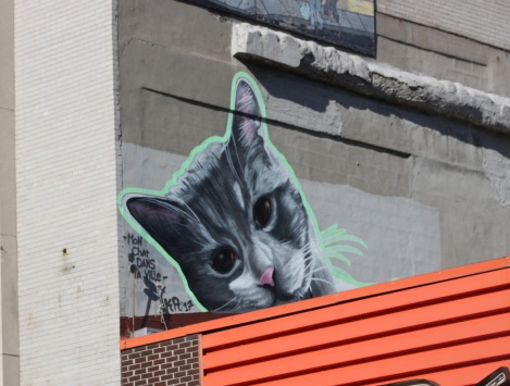 "Kor piece on a Masson rooftop, part of a project called ""Mon chat dans ta ville"""