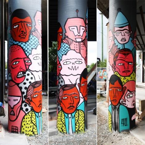 Mono Sourcil for the 2016 Amalgam Festival in Sherbrooke (3 sides of a bridge pillar)