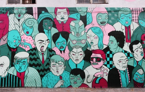 Mono Sourcil's mural for the 2017 edition of Mural Festival (detail 2/3)
