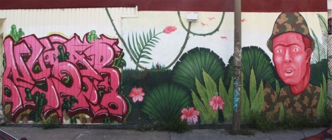Nybar graffiti (left) and Mono Sourcil mural (right) in Hochelaga