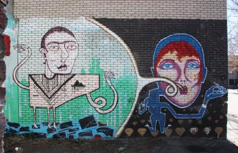 Mono Sourcil near legal graffiti wall on de Rouen