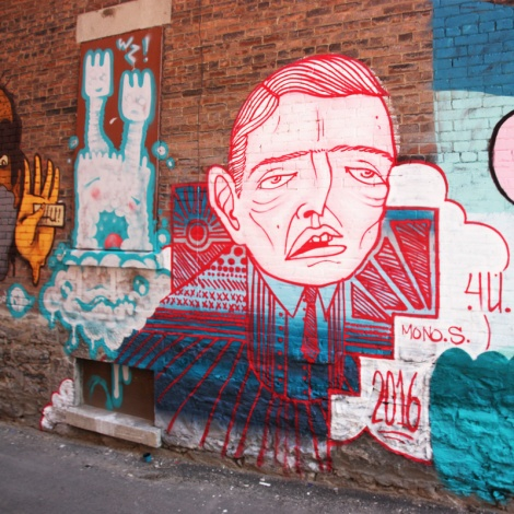 Mono Sourcil (right) and Wzrds Gng (left) in a Mile End alley