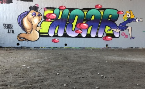 Seork (character) and Hoar (letters) at the Papineau legal graffiti wall