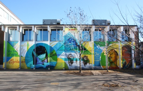 A'Shop wall on a Plateau school by Bryan Beyung, assisted by Ankh One and Monk.e