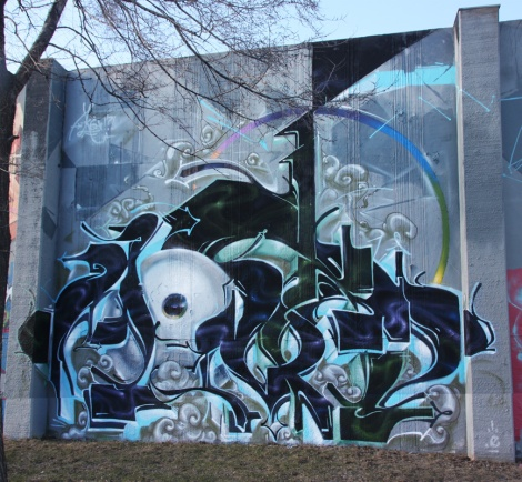 Monk.e's contribution to the 2016 graffiti jam at the Lachine legal wall