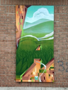 Close-up on one panel of a 4-panel mural by Monk.e in the Plateau