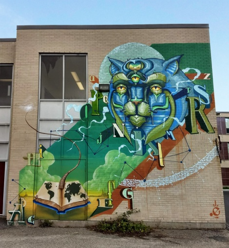 Monk.e mural in Ville St-Laurent