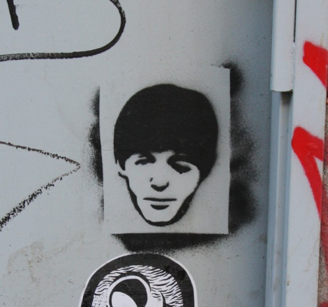 stencil of Paul McCartney head by unidentified artist