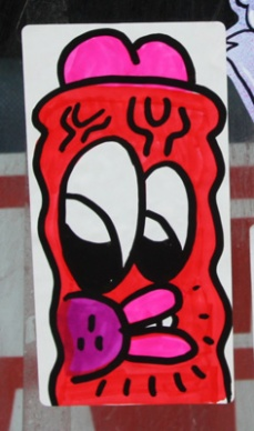 hand-drawn sticker by unidentified artist
