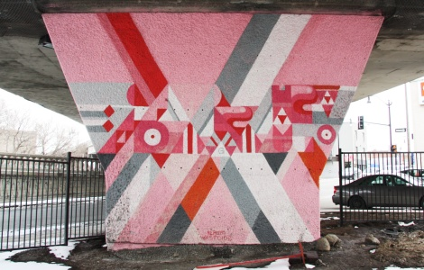 Pery Dyer 'mural' on a pillar of the Van Horne Rosemont overpass