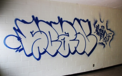 Scaner throwie and tag found inside an abandoned school