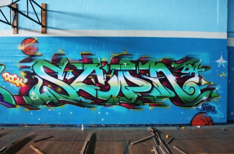 Scaner piece inside gym of an abandoned school