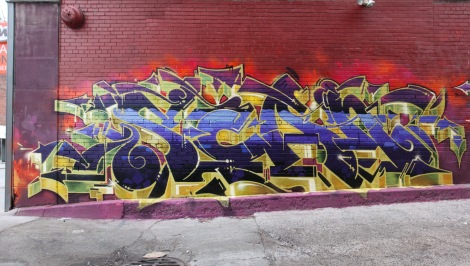 Scaner in a central Montreal alley, for Art Gang.