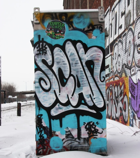 Scaner graffiti by train tracks