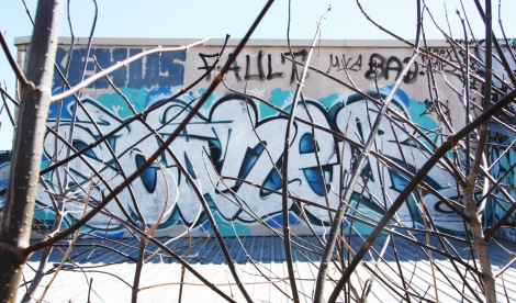 Scaner graffiti in back of industrial building