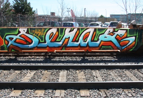 Serak on a parked train