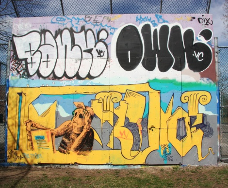 Painted piece by MSHL (bottom), plus throws at the top by Bank and Owk