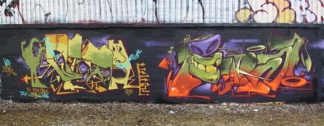 MSHL (left) and Debza (right) graffiti in Rosemont