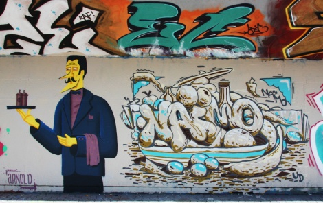 Arnold piece and Naimo graffiti at Charlevoix legal graffiti wall