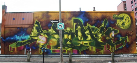 Graffiti mural by Stare in the Quartier des Spectacles