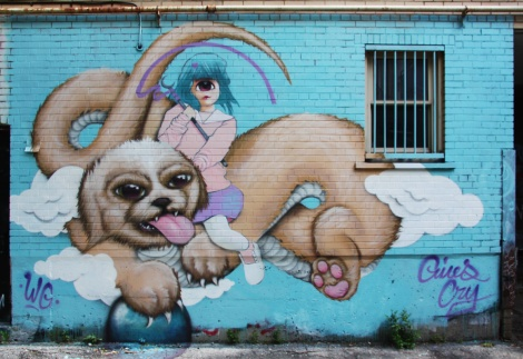 Gives and Cryote (at the time in the Wzrds Gng) mural in alley between St-Denis and Drolet