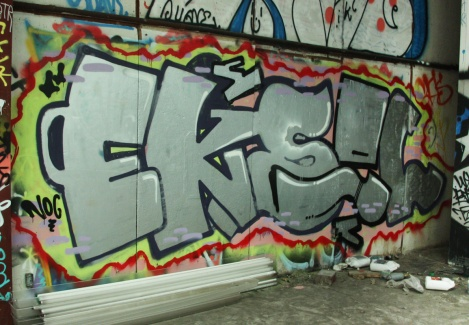 Eksel graffiti in abandoned Mile End shed