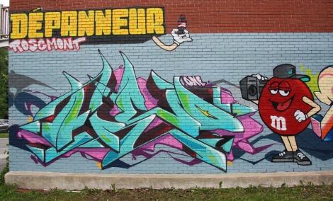 commissioned F.One graffiti on side wall of Rosemont dépanneur