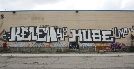 Kelen and Kube graffiti on abandoned warehouse