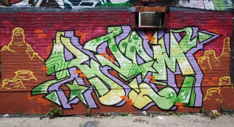 Kzam graffiti in alley between St-Laurent and Clark