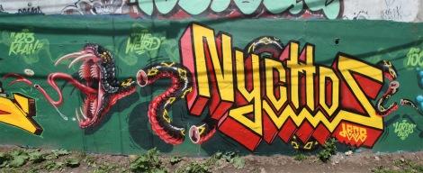Nychos graffiti piece in Ville-Marie