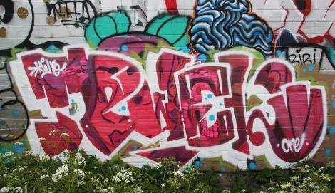Pwel piece on an industrial wall in Hochelaga