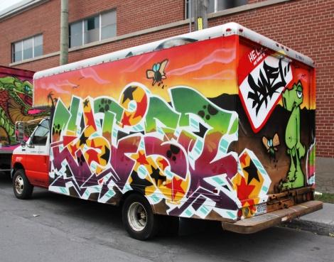 Lyfer (letters) and Awe (back) on truck; done during the 2016 edition of the Hip Hop You Don't Stop festival