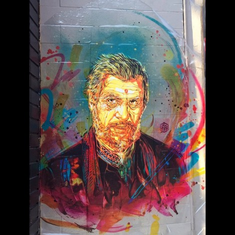 C215 wheatpaste for the 2015 edition of Mural Festival; photo © PiaMTL