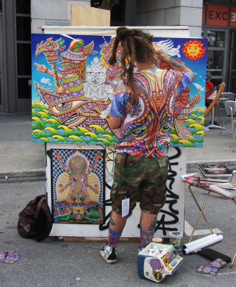 Work-in-progress by Chris Dyer during the 2015 edition of Mural Festival