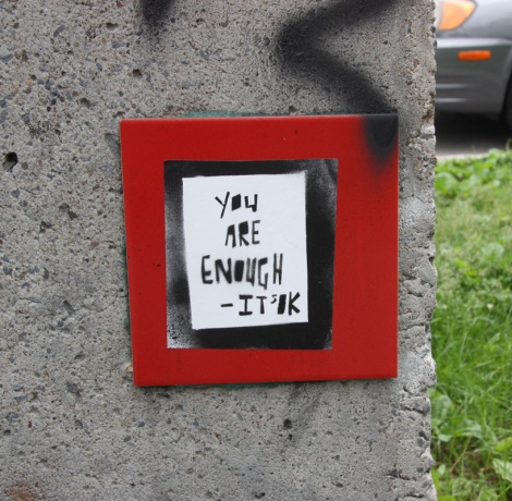 It's OK Project paste-up on wooden support
