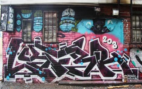 Waxhead (top) and Lyfer (bottom) in alley between St-Laurent and Clark