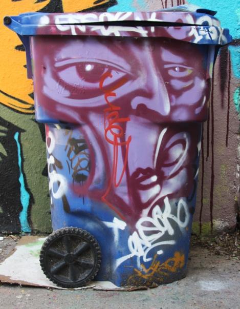painted bin at the Rouen tunnel legal graffiti walls