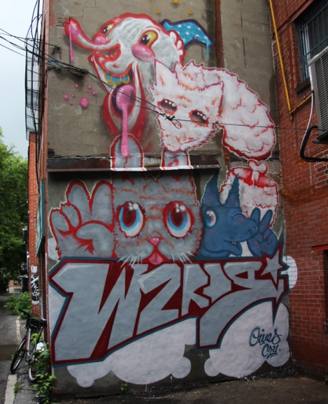Gives and Cryote representing the Wzrds Gng in a lower Plateau alley