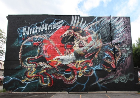 Nychos's contribution to the 2015 edition of Mural Festival