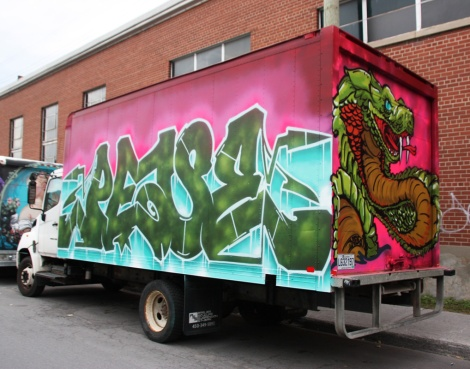 Peace (letters) and Mos (back) on truck; done during the 2016 edition of the Hip Hop You Don't Stop festival