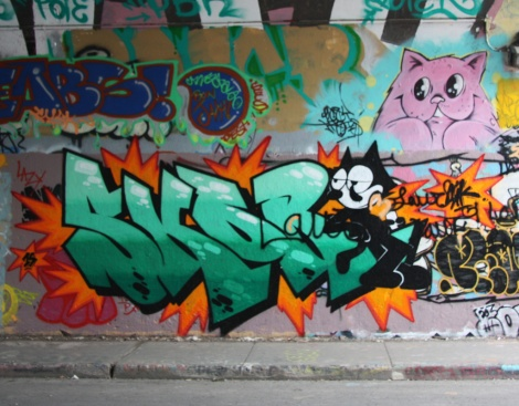 Skor (bottom) and Mr Chose (pink cat) at Rouen tunnel
