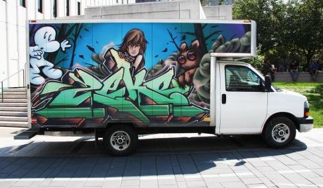 Zek on side of truck