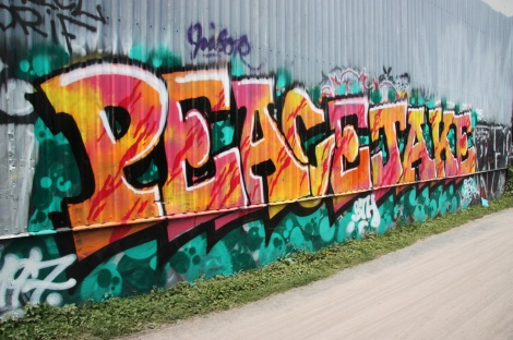 Peace and Jaker next to bike path in Petite Patrie