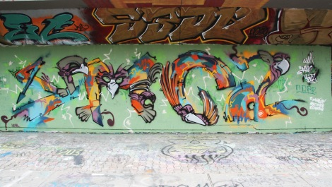 Figurative lettering by Max representing his YMCA crew at the PSC legal graffiti wall