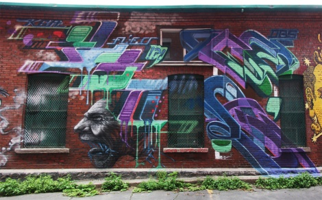 Fleo (left letters), Cens (right letters) and Cassandra Leigh D aka Snikr (character) for K6A in Old Montreal
