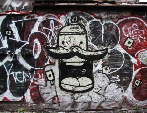 Loks in a central graffiti alley