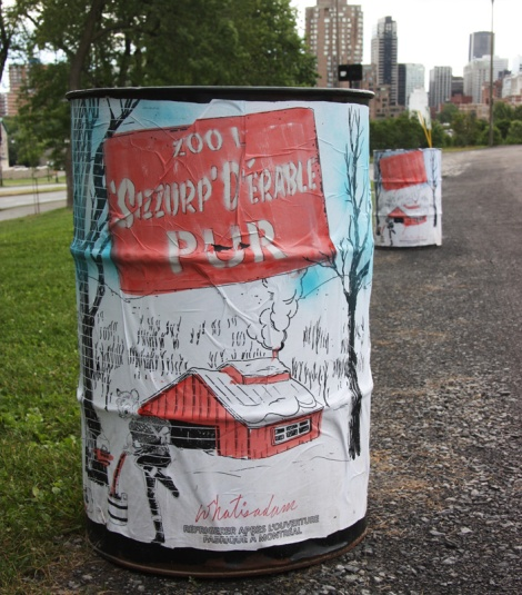 garbage barrel made into mock Maple 'Sizzurp' cans by WhatIsAdam, on the mountain